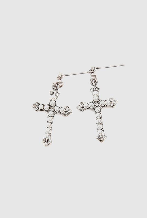 cross pearl mini earring