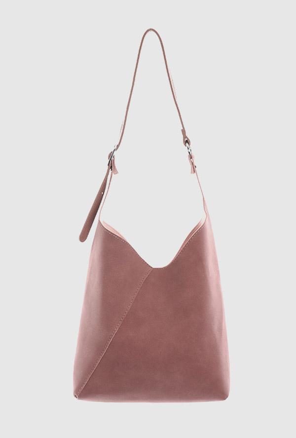 suede minimal shoulder bag