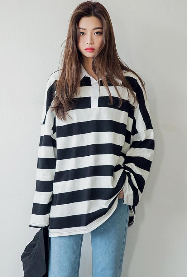 올리 카라 스프라이프 티셔츠 2 COLOR 아이보리,네이비,스트라이프,봄가을,데일리아이템)