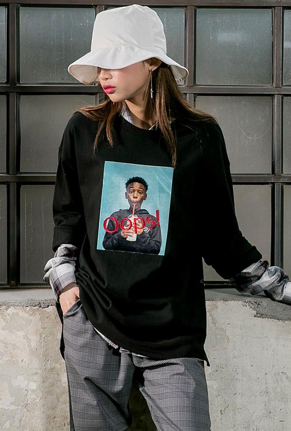 웁스 캐쥬얼 티셔츠 (남여공용)